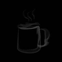 Tea cup smoke creative idea. Vector illustration