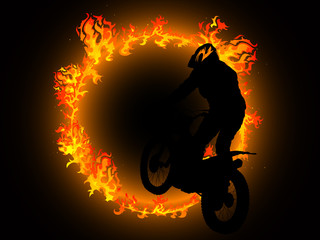 Fototapete - Fire and motorcyclist