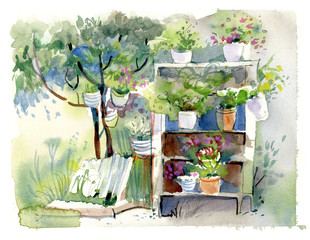 cupboard with flowers, watercolor