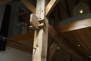 Delden, The Netherlands. Detail of a wooden construction holding up a floor of an apartment.
