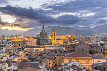 Spoed Fotobehang Palermo Evening view of Palermo