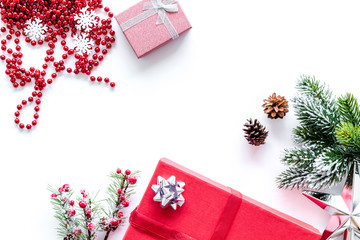 gifts wrapping set for new year and christmas 2018 greeting on white background top veiw mock up