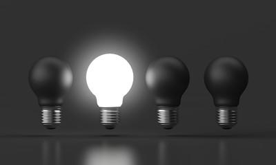 3d illustration - Brightness bulb standing out black bulb, Idea minimal Design Concept.