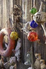 Beach shack exterior decorated with vintage nautical treasures