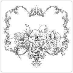 Summer flowers: poppy, daffodil, anemone, violet, in botanical style with vintage rococo frame for text. Stock line vector illustration. Outline hand drawing coloring page for adult coloring book.