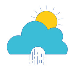 cute cloud with sun and raining natural weather vector illustration