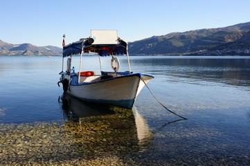 boat on Egirdir lake Isparta Turkey