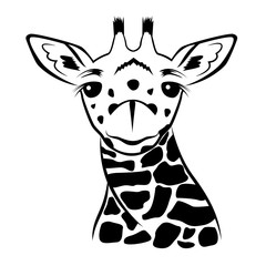 Giraffe head vector graphic illustration black and white.