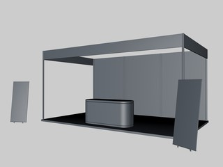 3d rendering of a gray exhibiton with two posters and a desk