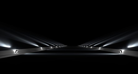 3d rendering of a futuristic road with lights along the path