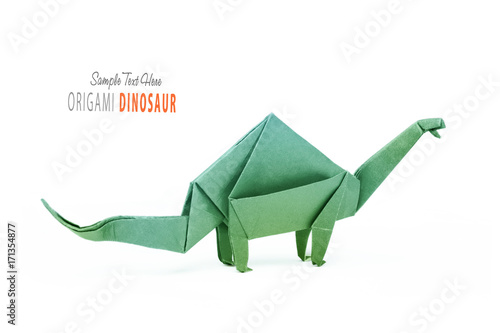 Isolated origami paper green dinosaur brontosaurus