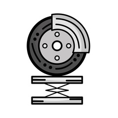 grayscale tire car service to mechanical repair vector illustration