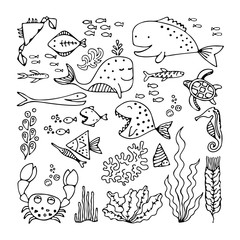 Set of cartoon fish and sea animals
