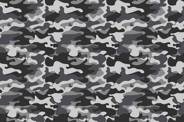 Horizontal banner camouflage seamless pattern background. Classic clothing style masking camo repeat print. Black grey white colors winter ice texture. Design element. Vector illustration.