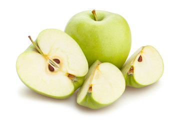 sliced green apple path isolated