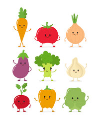 Cute happy smilig raw vegetable collection