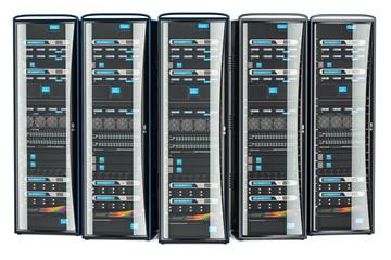 Set of Computer Server Racks, 3D rendering