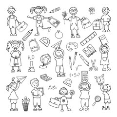 Hand drawn doodle. Back to school. icons set