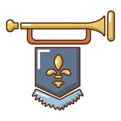 Medieval trumpet with flag icon, cartoon style