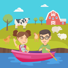 Caucasian brother and sister riding on the boat on the lake. Little friends floating in a boat on the pond. Happy boy and girl traveling by boat. Vector sketch cartoon illustration. Square layout.