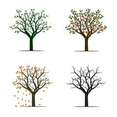 For Season Trees. Vector Illustration.