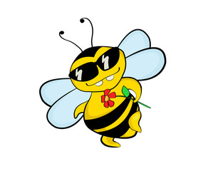 A flirting bee in sunglasses holding a flower, a cartoon illustration.