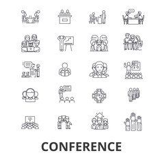 Conference, presentation, meeting, business discussion, teamwork, management line icons. Editable strokes. Flat design vector illustration symbol concept. Linear signs isolated on background