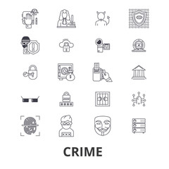 Crime, prison, law, security, police,legal,thief, justice line icons. Editable strokes. Flat design vector illustration symbol concept. Linear signs isolated on background