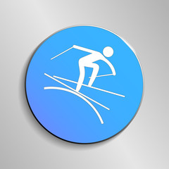 eps 10 vector Freestyle Skiing Moguls sport icon. Winter activity pictogram for web, print, mobile. White athlete sign isolated on blue button. Hand drawn competition symbol. Graphic design clip art