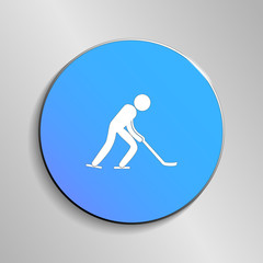 eps 10 vector Ice Hockey sport icon. Winter activity pictogram for web, print, mobile. White athlete sign isolated on blue button. Hand drawn competition symbol. Graphic design clip art illustration