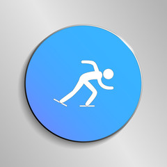 eps 10 vector Speed Skating sport icon. Winter activity pictogram for web, print, mobile. White athlete sign isolated on blue button. Hand drawn competition symbol. Graphic design clipart illustration