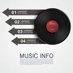 Abstract music info. Vinyl disk. Vector illustration
