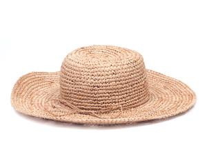 Stylish straw summer tan hat isolated on white background