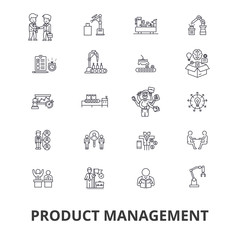 Project management, plan, consulting, gantt chart, engineering,  roadmap line icons. Editable strokes. Flat design vector illustration symbol concept. Linear signs isolated on background