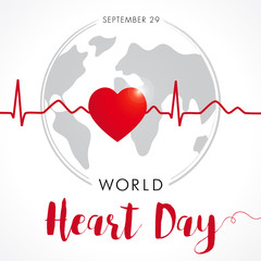 World Heart Day card, heart and cardio pulse trace on globe. Vector illustration concept World Heart Day background for banner or poster. September 29