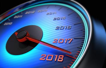 Tachometer 2018 blau leuchtend