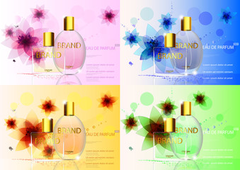 eps10 vector set of advertising posters. Luxury eau de parfum isolated on flower background. Premium cosmetics and perfumery advertisement banners for web, print. Realistic bottle with vaporizer spray