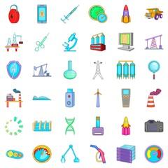 Indicator icons set, cartoon style
