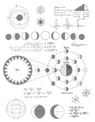 Sciense moon phases scheme, vector background