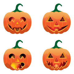 Set of pumpkins for Halloween