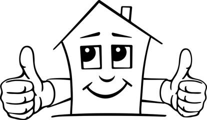 Comic Haus mit Gesicht und zwei Händen mit Daumen oben