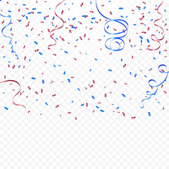Red And Blue Confetti And Ribbons Falling On Transparent Background. Celebration Event & Birthday. American or chile flag color concept. Vector