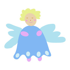 Colorful and smiling fairy cartoon with wings isolated on a white background - Eps10 vector graphics and illustration
