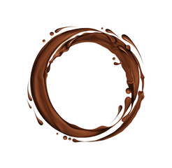 Splashes of chocolate in a circular motion, isolated on white background