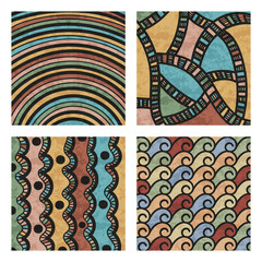 Abstract colored hand drawn doodle patterns