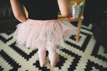 close up of child's tutu while drawing