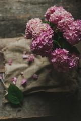 Bouquet of hydrangeas still life