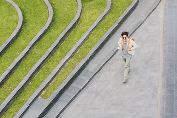 Overhead View of a Man Walking Outdoors