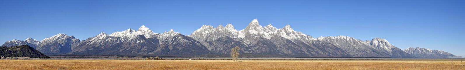 High quality mega panoramic picture of the Grand Teton Mountain Range in autumn, Wyoming, USA.