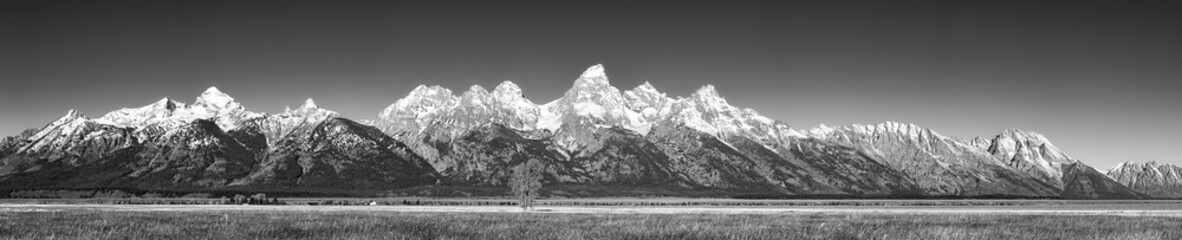 Black and white panoramic picture of the Grand Teton Mountain Range in autumn, Wyoming, USA.